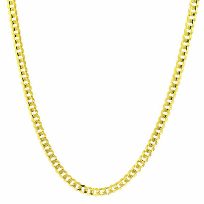 """14K Yellow Gold 4mm Wide Solid Curb Cuban Chain Link Necklace Lobster Clasp 22"""""""
