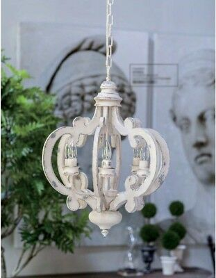 """French Country Shabby Cottage Chic Vintage Distressed Wood Metal Chandelier 24"""""""