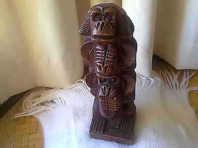 Vintage Carved Wood Wooden Monkey Sculpture