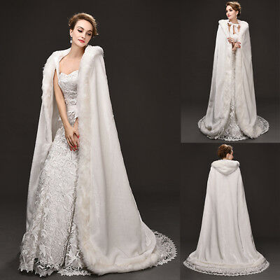 Long Ivory Bridal Winter Wedding/Party Hooded Cloak Cape Faux Fur Shawl Wrap