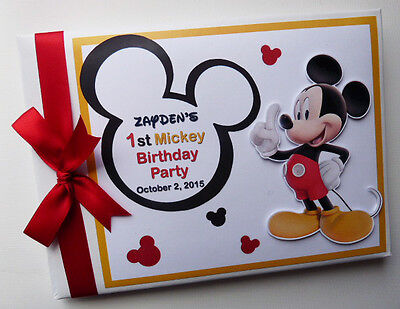 Personalised Disney Mickey Girl /boy First/1St Birthday Guest Book Any Design