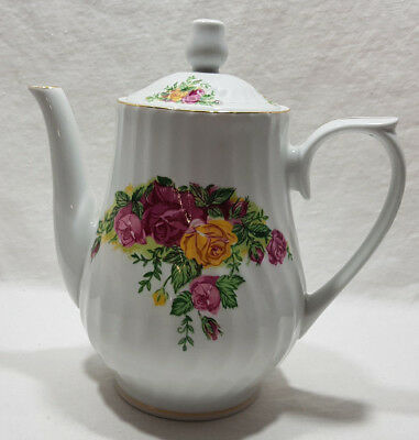 Regent China English Rose Tea Pot with Lid Gold Trim Rose Flower Design