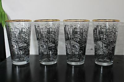 Modelo Real Authentic Craftsman Gold Rim Beer Pint Glasses Brand New, Set of 4