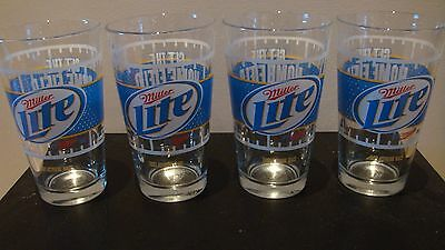 Miller Lite Football Home Field Advantage Beer Glasses, Set of 4 NEW