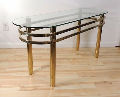 Vintage Mid Century Modern Hollywood Regency Brass Console Table
