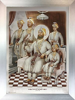 "Guru Gobind Singh Ji & Chaar Sahibzaade Photo Pictures Framed 16"" X 12"" Inches"