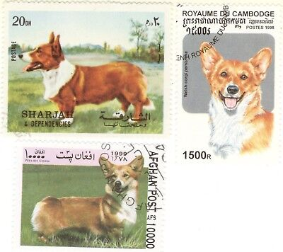 WELSH CORGI - 3 International Dog Postage Stamps **Great Gift Idea**