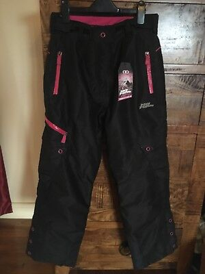 No Fear Size 8 Ski Trousers Pants salopettes Black And Pink