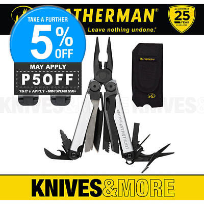 Limited Edition Leatherman Wave Black Silver Std Stainless Multi-Tool + Sheath +