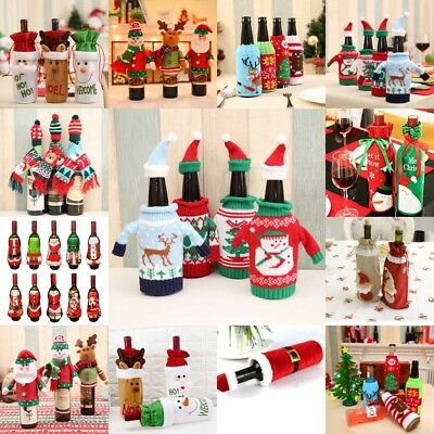 New Christmas Red Wine Bottle Set Cover Bag Santa Tree Dinner Party Gift Decor