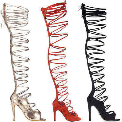 Womens Ladies Heels Wrap Around Leg High Heel Shoes Stiletto Thigh Lace Up Size