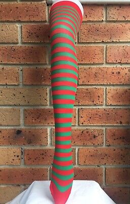 Christmas Elf Red and Green Striped Over Knee High Stockings Socks Costume