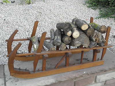 Vintage rack Wood Snow Sledge Sleigh Stored drink log walked stand country house