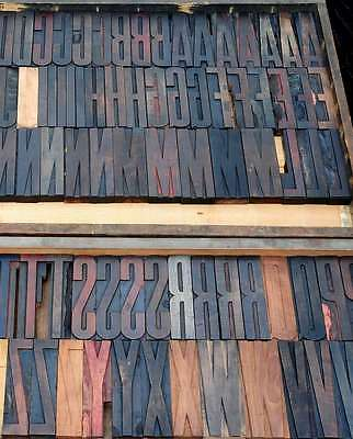 "Antique rare Alphabet 107pcs  6.22"" wood printing blocks Letterpress wooden type"