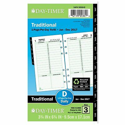 Day-Timer Daily Planner Refill 2017, One Page Per Day, Traditional, 3-3/4 x Size