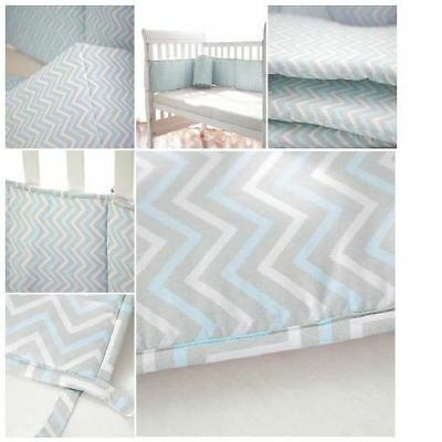 NEW Baby Crib Bumper Bedding Boy Blue Pads Set Hand Made Breathable Microfiber
