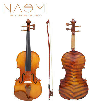 """Naomi Full Size Violin Draw """"flamed"""" 4/4 Violin Fiddle With Case And Bow"""
