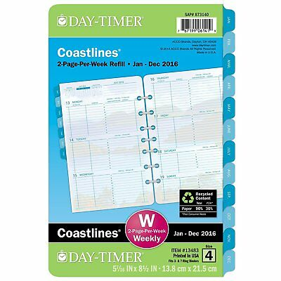 Day-Timer 2-Page-Per-Week Refill 2016, 12 Months, Loose-Leaf, Desk Size, 5.5 x
