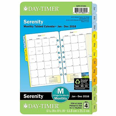 Day-Timer Monthly Refill 2016, 12 Months, Loose-Leaf, Desk Size, 5.5 x 8.5 13696