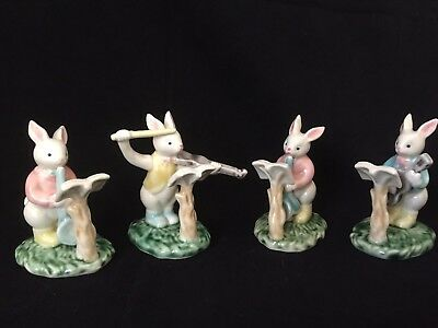Set of 4 Musical Bunny Figurines
