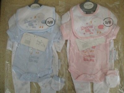 Premature Tiny Me baby clothes layette sleepsuit vest mitts & bib set boy girl 5