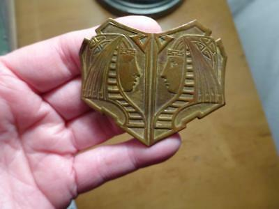 LARGE Antique EGYPTIAN REVIVAL EMBOSSED PHARAOH BROOCH PIN VG