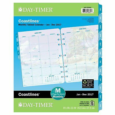 Day-Timer Monthly Planner Refill 2017, Two Page Per Month, Loose Leaf, Folio x
