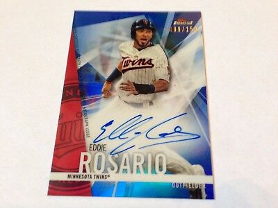 Eddie Rosario 2017 Topps Finest Baseball Blue Refractor Autograph on Card #/150