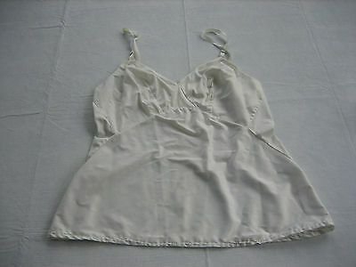 Vintage Off White Polyester Cotton Camisole - Lace Trim - Size 38