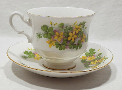 Queen Anne Teacup and Saucer Yellow Flower Gold Trim #8615 Made in England