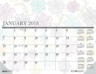 House of Doolittle 2018 Monthly Desk Pad Calendar, Whimsical Doodle Color, 22 x