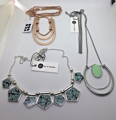 Lot of 3 Mixed Brand Jewelry Necklaces Rose Gold Silver Pendant Turquoise