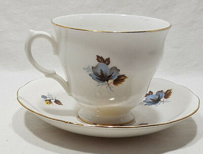 Royal Vale Tea Cup and Saucer Yellow & Blue Flower #8328 Bone China Gold Trim