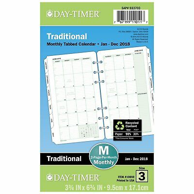Day-Timer Refill 2018, Two Page Per Month Calendars, January 2018 - December x
