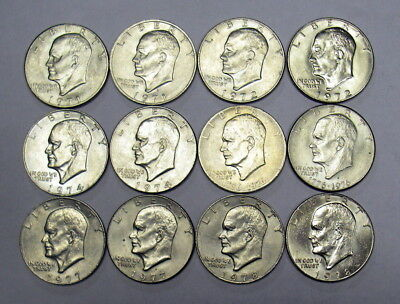 Eisenhower Dollar, Ike Collection 1971-1978 P D COMPLETE 12 coin Set AU TO BU
