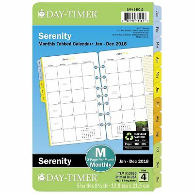 Day-Timer Refill 2018, Two Page Per Month, Tabbed, January 2018 - December 2018,