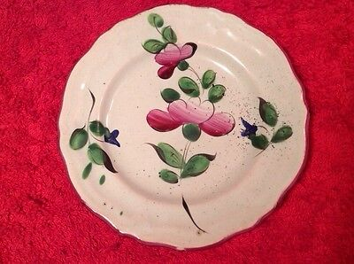 Antique Hand Painted French Faience Butter Pat c1800-1880, ff353
