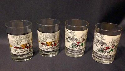 Lot of 4 Collectors Series CURRIER AND IVES Arbys Christmas Tumblers Glasses