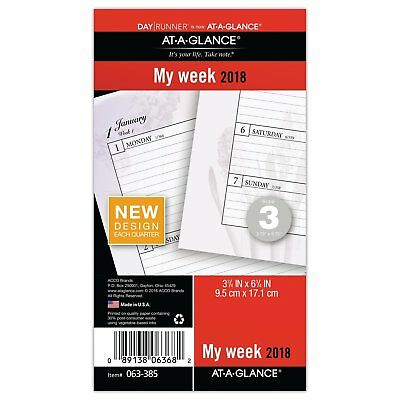 AT-A-GLANCE Day Runner Weekly Planner Refill, January 2018 - December 2018, x 3,
