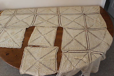 Antique Ecru Crocheted Tablecloth? Coverlet? Unfinished
