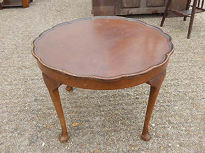 Antique mahogany pie crust side / end table with cabriole queen anne style legs