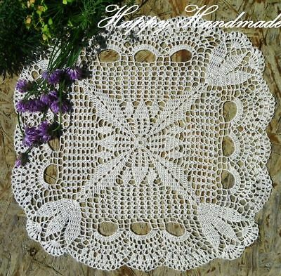 HaHa Linen White Crochet 32x32cm (12.5'') Large Square Doily / made-to-order