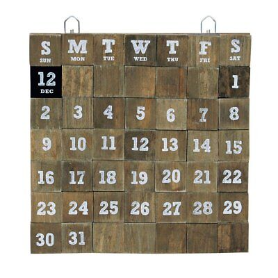 Time Concept Rustic Wooden Cube Perpetual Calendar - Wall - Large