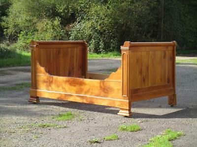 ANTIQUE FRENCH, ORIGINAL BEAUTIFUL WALNUT SLEIGH SIDE BED. 19thC