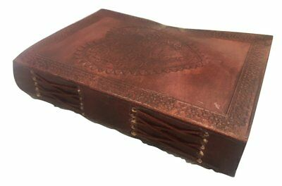 Vintage Large Heart Leather Journal Embossed Travel Diary Handmade Bound For Men