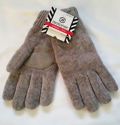 NWT Women Isotoner Knit Thinsulate Platinum Knit Gloves Chrome 1Sze