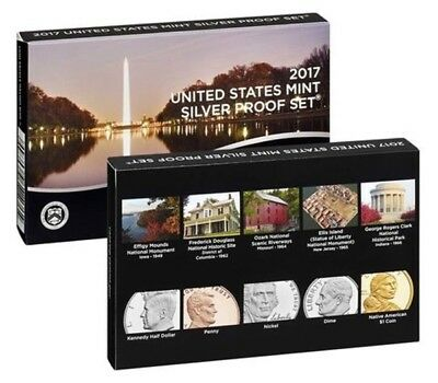 2017-S US Mint Annual Silver Proof Set 10 Deep Cameo Proof Coins