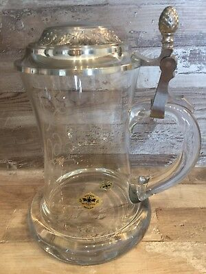 German Beer crystal glass Mug. 60 anniversary. Handmade In Austria. Gift.