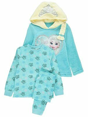 Girls 3 Piece Disney Frozen Dressing Gown Fleece lined hood Pyjamas  3-14 Years