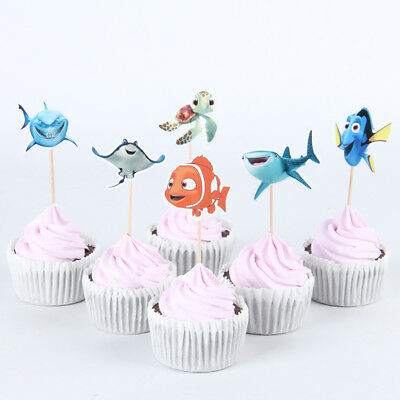 NEW 24pcs finding dory Cupcake Toppers Birthday Party Decor